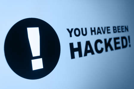 You have been hacked sign on LCD Screen Stock Photo - 19210945