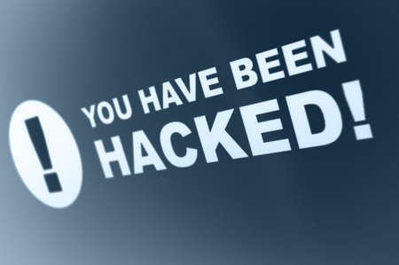 You have been hacked sign on LCD Screen Stock Photo - 19210948