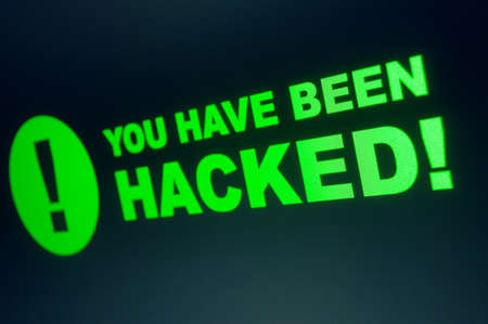 You have been hacked sign on LCD Screen Stock Photo - 19210950