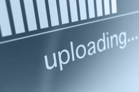 Closeup of Upload Process Bar on LCD Screen Stock Photo - 19210947