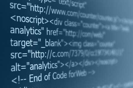 Closeup of Web Code on Computer LED Screen Banque d'images