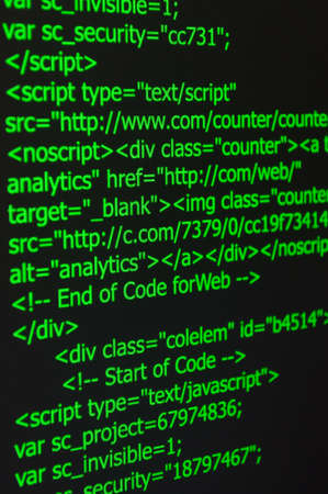Closeup of Web Code on Computer LED Screen Stock Photo - 19357159