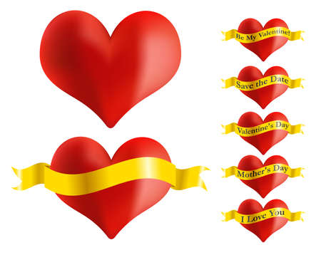 Illustration - Set of Red Heart Icons With Golden Ribbon Stock Vector - 19628757