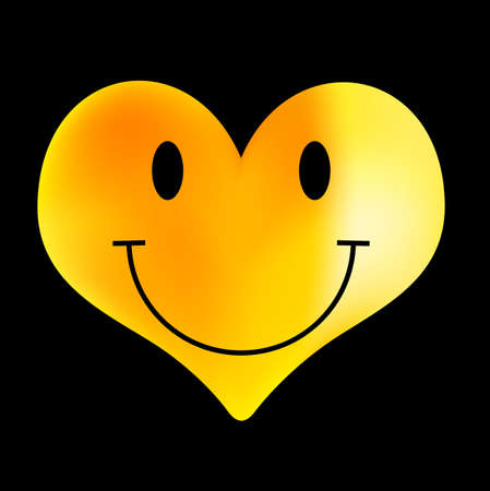 golden heart: Yellow Smiley - Heart Shaped Emoticon Illustration