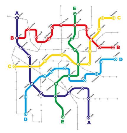 estación del metro: Ciudad Esquema Transporte p�blico ficticio en el fondo blanco