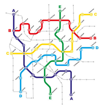 Fictitious City Public Transport Scheme on White Background Illustration