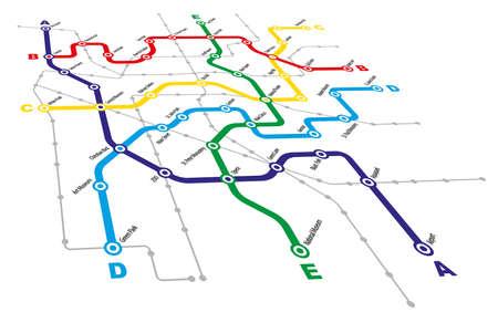 Fictitious City Public Transport Scheme on White Background Vector