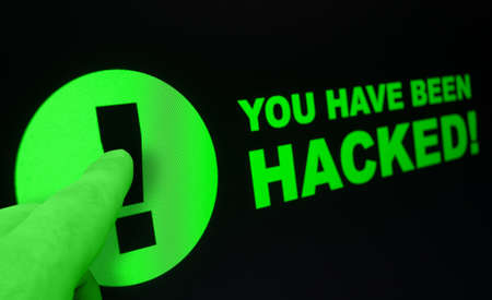 Online Shopping - Finger Pushing You Have Been Hacked Sign On Touchscreen Stock Photo - 19628952
