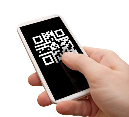 Reading QR Code - Man photo