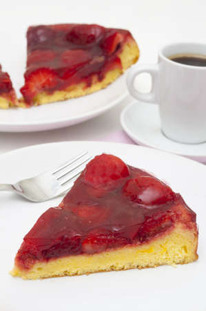 Homemade Strawberry Cake with Jelly and Cup of Coffee photo