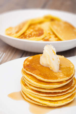 flapjacks: Homemade Pancakes With Butter and Warm Maple Syrup - Shallow Depth of Field