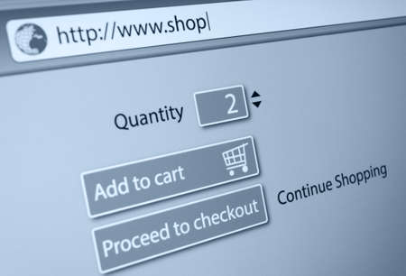 url web: Online Shopping -  url of fictitious online shop in address bar of web browser Stock Photo