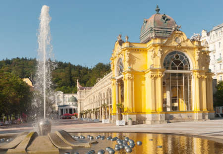 Singing Fountain, Colonnade of Marianske Lazne - Marienbad, Czech Republic Stock Photo