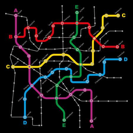 fictitious: Fictitious City Public Transport Scheme on Black Background