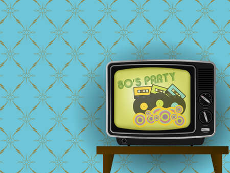 television: Illustration of Retro TV - 80s Party on TV - With Luxury Vintage Wallpaper in Background - Illustration
