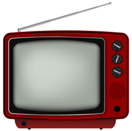 Red Retro TV - Illustration of Old Television Isolated on White Background