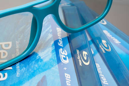bluray: Plastic 3D Glasses and 3D Blu-Ray Discs Editorial