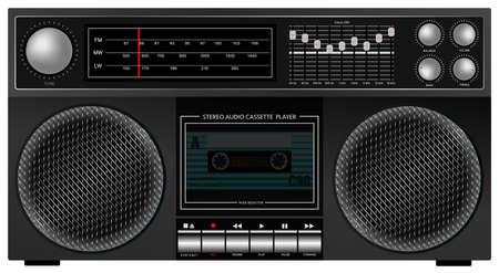 ポータブル レトロなステレオ オーディオ カセット プレーヤー レコーダーのイラスト  イラスト・ベクター素材