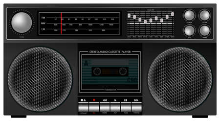 portable player: Illustration of Portable Retro Stereo Audio Cassette Player   Recorder