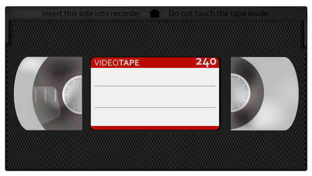 vintage television: Retro Videotape - Illustration of Retro VHS Video Tape - Isolated on White