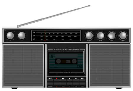 Illustration of Portable Retro Stereo Audio Cassette Player   Recorder Vector