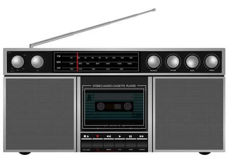 Illustration of Portable Retro Stereo Audio Cassette Player   Recorder