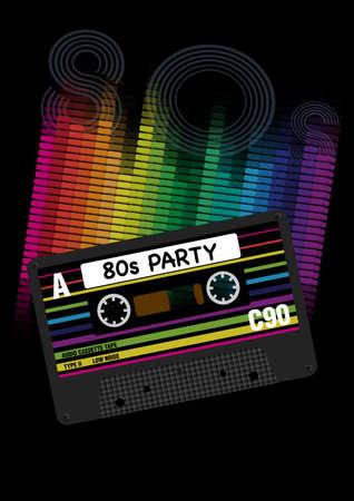 ベクトル 80 年代党の背景-Eighites パーティー - レトロなオーディオ カセット テープと黒の背景にイコライザーのベクトル イラスト
