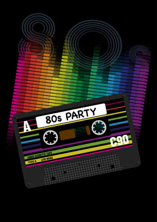 eighties: Vector 80s Party Background- Eighites Party - Vector Illustration of Retro Audio Cassette Tapes and Equalizer on Black Background Illustration
