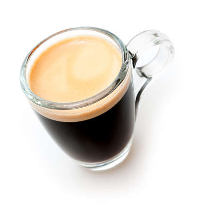 expresso: Glass Cup of Espresso Coffee on White Background - Shallow Depth of Field