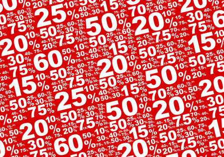 Sale - Various White Percentage Signs on Red  Illustration