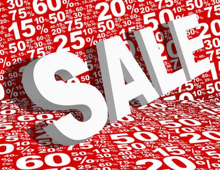 Sale Background - Sale Sign Various White Percentage Signs on Red Background Ilustração