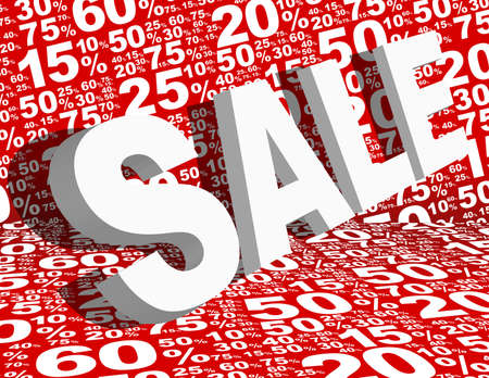 Sale Background - Sale Sign Various White Percentage Signs on Red Background Illustration