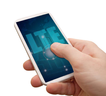4g: LTE Mobile Internet - Mans Hand With Smartphone With LTE Sign on Display - Isolated on White with clipping path Stock Photo