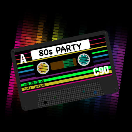 80 年代パーティー バック グラウンド-Eighites パーティー - レトロなオーディオ カセット テープと黒の背景にイコライザーのイラスト