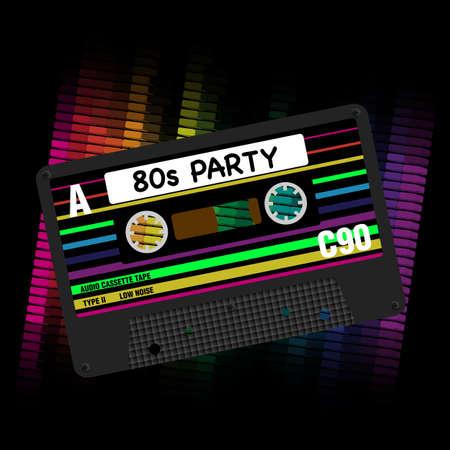 Partie 80s Background- Eighites Party - Illustration de bandes rétro cassette audio et d'égaliseur sur fond noir Vecteurs