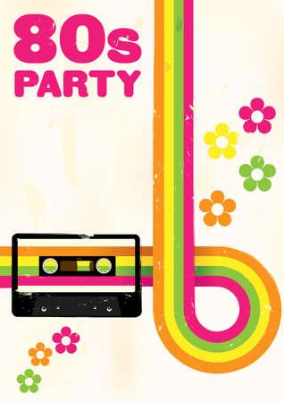 audio cassette: Retro Poster - 80s Party Flyer With Audio Cassette Tape
