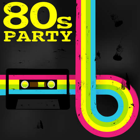 retro party: Retro Poster - 80s Party Flyer With Audio Cassette Tape