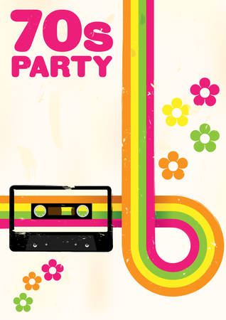 Retro Poster - 70s Party Flyer With Audio Cassette Tape Vectores