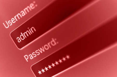 username: Login Box - Username - Admin and Password in Internet Browser on Computer Screen