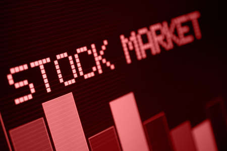 Stock Market - Column Going Down on Red Display - Shallow Depth Of Field
