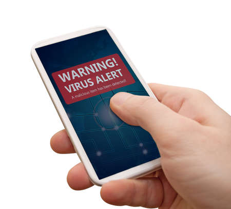 alert: Virus Alert in Smartphone - Mans Hand With Smartphone With Warning Sign on Display - Isolated on White