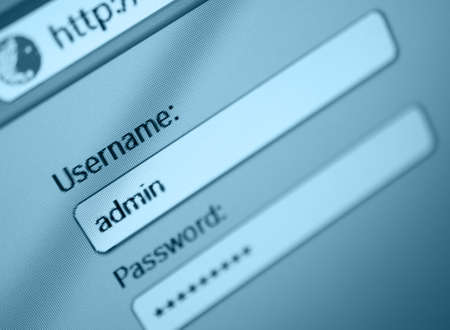 password: Login Box - Username - Admin and Password in Internet Browser on Computer Screen - Shallow Depth of Field