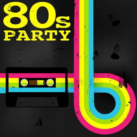 cintas: Cartel retro - 80 Party Flyer Con la cinta de casete de audio