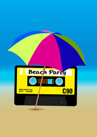 audio cassette: Retro Poster - 80s Beach Party Flyer With Audio Cassette Tape Illustration