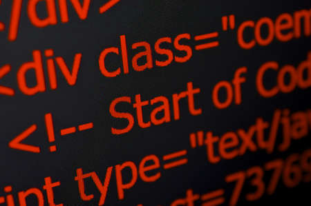 web screen: Closeup of Web Code on Computer LED Screen Stock Photo