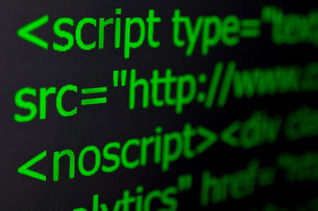 javascript: Closeup of Web Code on Computer LED Screen Stock Photo