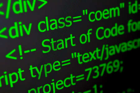 java script: Closeup of Web Code on Computer LED Screen Stock Photo