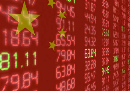 Chinese Stock Market - Red and Green Figures on Chinese Flag