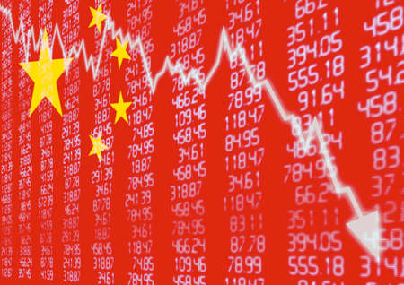 chinese: Chinese Stock Market - Arrow Graph Going Down on Red Chinese Flag
