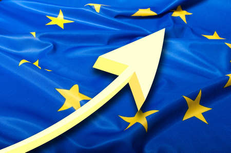 europeans: Detail of Silky Flag of Blue European Union EU Flag Drapery and Arrow Stock Photo
